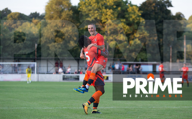 Sam Saunders of Wycombe Wanderers celebrates his goal during the 2018/19 Pre Season Friendly match between Chesham United and Wycombe Wanderers at the Meadow , Chesham, England on 24 July 2018. Photo by Andy Rowland.