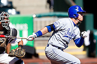 Lucas Hileman (7) of the Indiana State Sycamores follows through his swing during a game against the Evansville Purple Aces in the 2012 Missouri Valley Conference Championship Tournament at Hammons Field on May 23, 2012 in Springfield, Missouri. (David Welker/Four Seam Images)