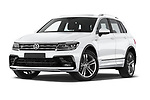 Stock pictures of low aggressive front three quarter view of a 2019 Volkswagen Tiguan Highline 5 Door SUV