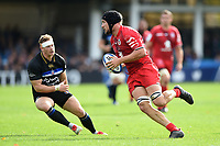 Francois Cros of Toulouse in possession. Heineken Champions Cup match, between Bath Rugby and Stade Toulousain on October 13, 2018 at the Recreation Ground in Bath, England. Photo by: Patrick Khachfe / Onside Images