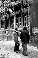 January 16, 1984 - Water use by firemen freeze on a burned building corner Ontario and St-Laurent