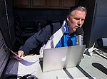 Charles Whisnand broadcast the action at Western Nevada College, in Carson City, Nev., on Friday, March 13, 2015. <br /> Photo by Cathleen Allison