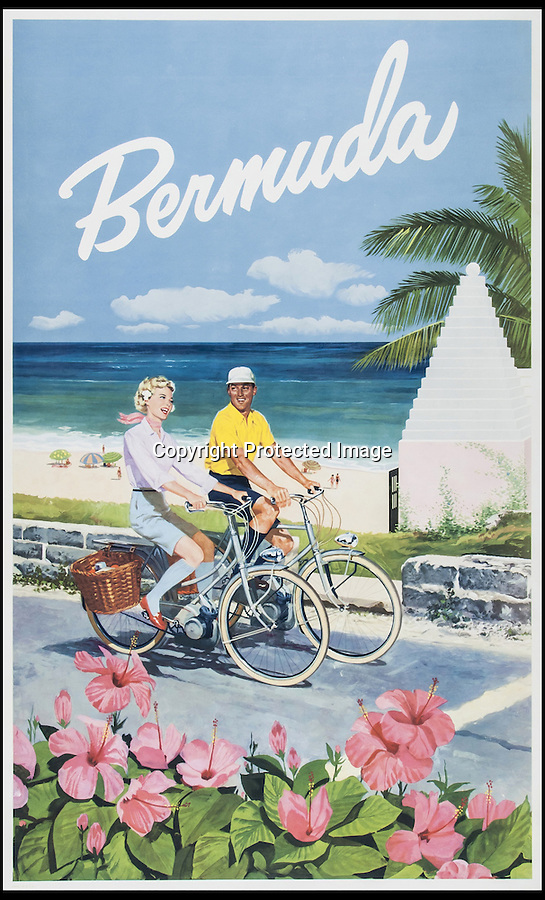 BNPS.co.uk (01202 558833)<br /> Pic: Bloomsbury/BNPS<br /> <br /> ***Please Use Full Byline***<br /> <br /> Beautiful posters from the halcyon days of travel up for auction.<br /> <br /> A poster for Bermuda valued at £1000- £1500. <br /> <br /> Scarce vintage travel posters that hark back to the halcyon days of travel across the globe in the 1930s are tipped to sell for £50,000.<br /> <br /> The fine collection of over 100 works of art were used to advertise dream holiday destinations in far-flung places and the luxurious ways of reaching them.<br /> <br /> Most of the advertising posters date back to the 1920s and 1930s and are Art Deco in style.<br /> <br /> They are a celebration of the various modes of transport used by wealthy tourists in the days before air travel and package holidays.<br /> <br /> They are being sold at London auctioneers Bloomsbury next week.