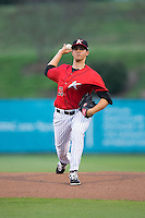 Kannapolis Intimidators starting pitcher Yelmison Peralta (33) in action against the Hickory Crawdads at CMC-Northeast Stadium on April 17, 2015 in Kannapolis, North Carolina.  The Crawdads defeated the Intimidators 5-1 in game two of a double-header.  (Brian Westerholt/Four Seam Images)