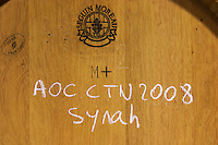 syrah barrel with stamp seguin moreau domaine giraud chateauneuf du pape rhone france