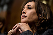 UNITED STATES - SEPTEMBER 27: Sen. Kamala Harris, D-Calif., listens to Christine Blasey Ford testify during the Senate Judiciary Committee hearing on the nomination of Brett M. Kavanaugh to be an associate justice of the Supreme Court of the United States, focusing on allegations of sexual assault by Kavanaugh against Christine Blasey Ford in the early 1980s. (Photo By Tom Williams/CQ Roll Call/POOL)