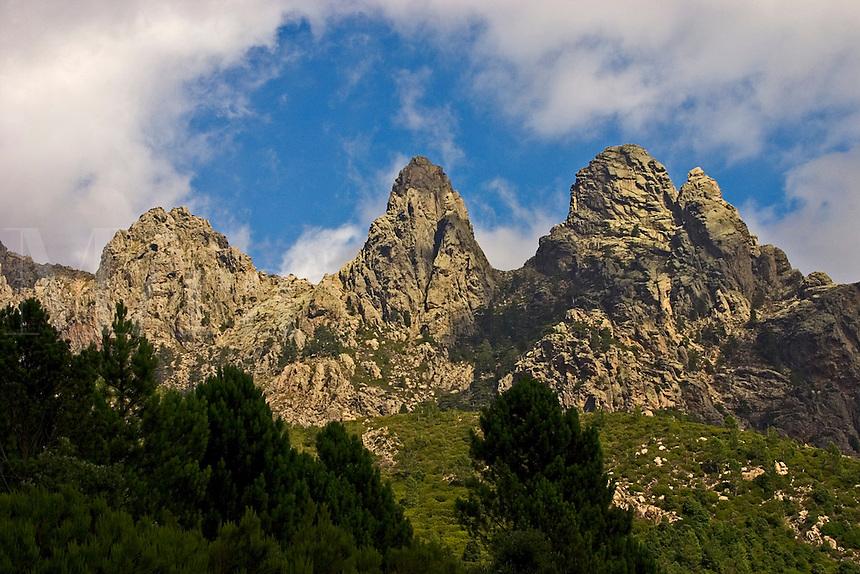 Corsica. Aiguilles de Bavella from the walking trail GR20. France. Corse..