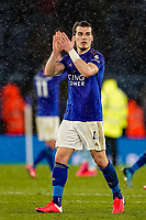 9th March 2020; King Power Stadium, Leicester, Midlands, England; English Premier League Football, Leicester City versus Aston Villa; Caglar Soyuncu of Leicester City applauds the fans at the final whistle