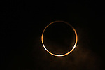 """May 21, 2012, Osaka, Japan - The Annular solar eclipse is seen in Yokohama, near Tokyo, Japan on May 21, 2012. An annular solar eclipse was observed over a wide area of Japan on Monday early morning. Millions of people watched as a rare """"ring of fire"""" eclipse crossed the skies. (Photo by Katsuro Okazawa/AFLO) -ty-"""