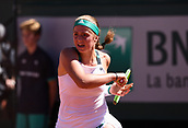 June 10th 2017, Roalnd Garros, paris, France. French Open tennis tournament, womens singles final, Jelena Ostapenko (lat) versus Simona Halep (Rom); Jelena Ostapenko (lat) on her way to a shock final win in 3 sets