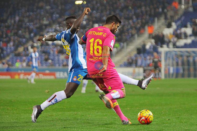League BBVA 2015/2016 -Game: 16.<br /> RCD Espanyol vs UD Las Palmas: 1-0.<br /> Felipe Caicedo vs Aythami.