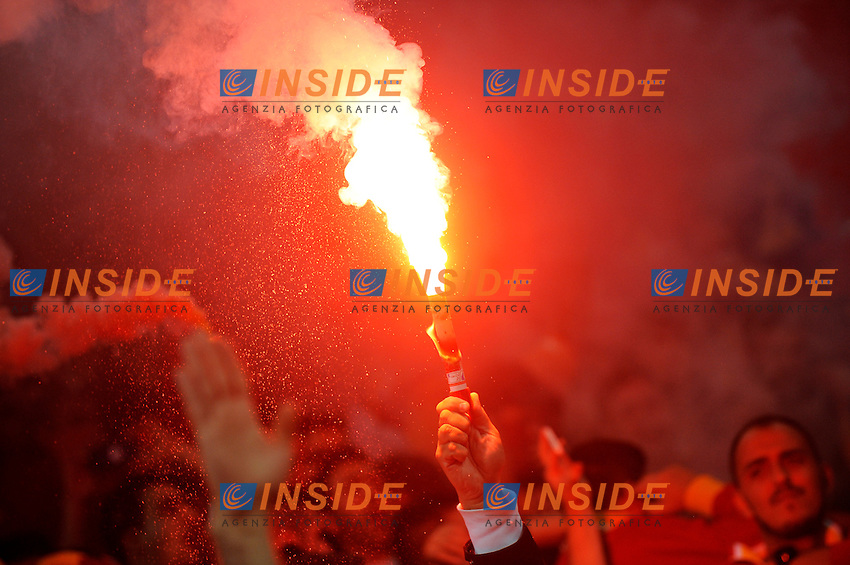 Supporters of Galatasaray team<br /> Torino 02-10-2013 Juventus Stadium<br /> UEFA Champions League 2013/2014<br /> Football Calcio Juventus vs Galatasaray<br /> Foto Insidefoto Giorgio Perottino