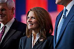 Michelle Bachman,.Eight republican candidates for US President face off at a debate held at the Ronald Reagan Library. The debate was sponsored by NBC News and POLITICO, and was moderated by Brian Williams, anchor of NBC Nightly News.