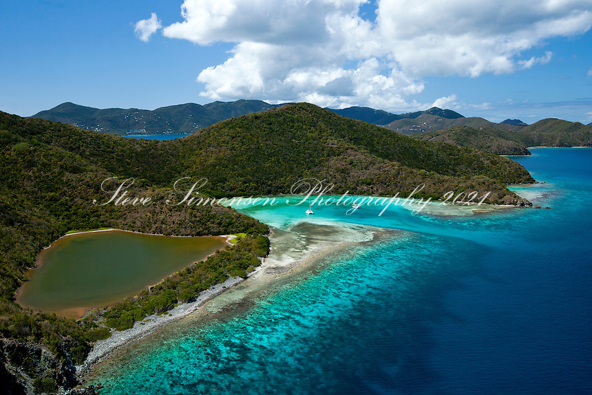 Aerial view of Newfound Bay.St. John.U.S. Virgin Islands