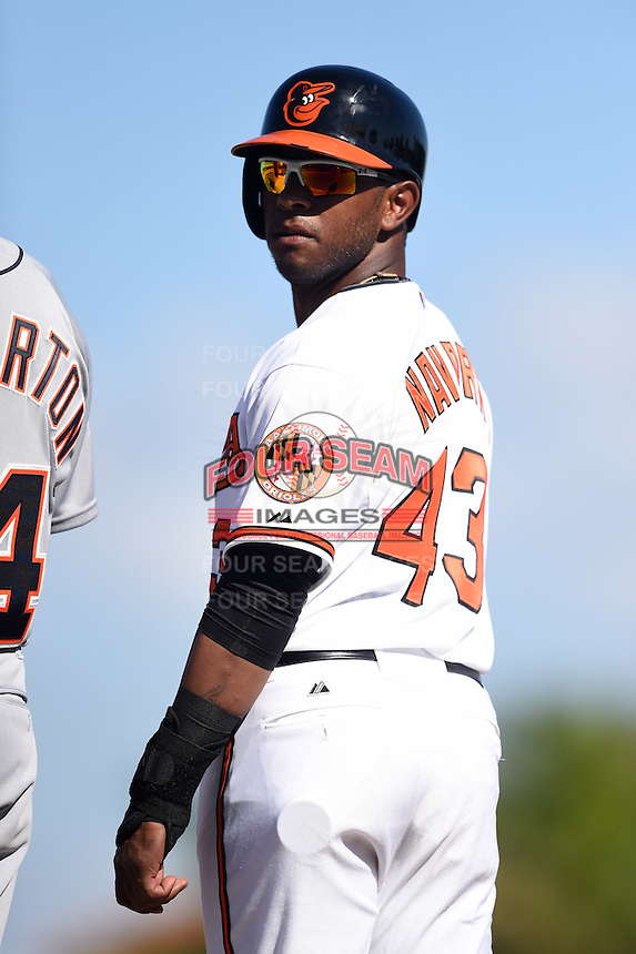 Baltimore Orioles infielder Rey Navarro (43) during a Spring Training game against the Detroit Tigers on March 4, 2015 at Ed Smith Stadium in Sarasota, Florida.  Detroit defeated Baltimore 5-4.  (Mike Janes/Four Seam Images)