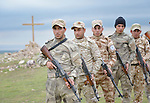 Members of the Nineveh Plain Protection Units training at their base near Alqosh, Iraq, on April 12, 2016. The Assyrian militia group was formed by Christians displaced by ISIS from Qaraqosh and other towns in the Nineveh Plain in 2014. Their goal is to take back their homeland and make it a semi-autonomous province within Iraq.