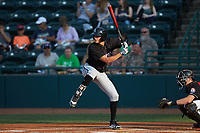 Craig Dedelow (14) of the Kannapolis Intimidators at bat against the Hickory Crawdads at L.P. Frans Stadium on July 20, 2018 in Hickory, North Carolina. The Crawdads defeated the Intimidators 4-1. (Brian Westerholt/Four Seam Images)