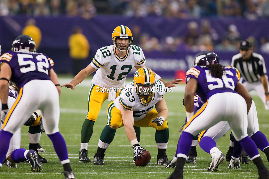 Green Bay Packers quarterback Aaron Rodgers (12) calls an audible during a Week 7 NFL football game against the Minnesota Vikings on October 23, 2011 in Minneapolis, Minnesota. The Packers won 33-27. (AP Photo/David Stluka)