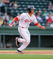 Infielder Mookie Betts (7) of the Greenville Drive in a game against the West Virginia Power on Tuesday, April 16, 2013, at Fluor Field at the West End in Greenville, South Carolina. West Virginia won, 8-3. (Tom Priddy/Four Seam Images)