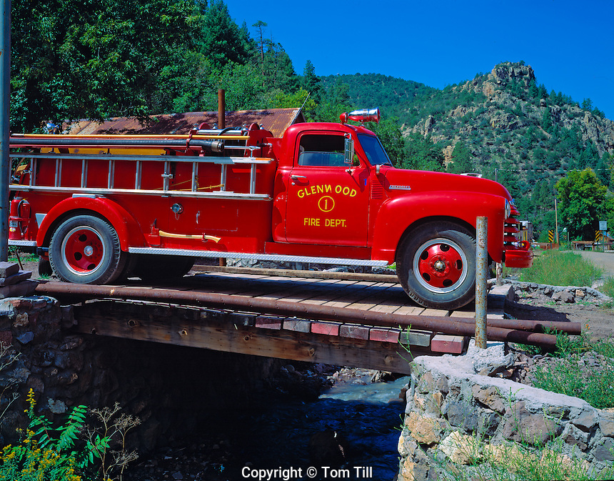 Mogollon fire engine  Mogollon ghost town, New Mexico  Gila National Forest  Gila Mountains  August