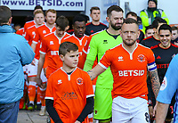Blackpool's Jay Spearing leads his side out<br /> <br /> Photographer Alex Dodd/CameraSport<br /> <br /> The EFL Sky Bet League One - Blackpool v Sunderland - Tuesday 1st January 2019 - Bloomfield Road - Blackpool<br /> <br /> World Copyright © 2019 CameraSport. All rights reserved. 43 Linden Ave. Countesthorpe. Leicester. England. LE8 5PG - Tel: +44 (0) 116 277 4147 - admin@camerasport.com - www.camerasport.com