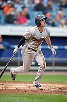 Scranton/Wilkes-Barre RailRiders shortstop Tyler Wade (23) follows through on a swing during a game against the Syracuse Chiefs on June 14, 2018 at NBT Bank Stadium in Syracuse, New York.  Scranton/Wilkes-Barre defeated Syracuse 9-5.  (Mike Janes/Four Seam Images)