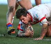 10th February 2019, Belle Vue, Wakefield, England; Betfred Super League rugby, Wakefield Trinity versus St Helens; Louie McCarthy-Scarsbrook of St Helens scores a try to make it 18-22