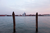ITALY, Venice. View of Venice from the water.