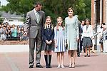 King Felipe VI of Spain, Princess Sofia of Spain, Queen Letizia of Spain  and Princess Leonor of Spain pose to the media at First Communion of princess Sofia at Asuncion de Nuestra Senora Church in Madrid, May 17, 2017. Spain.<br /> (ALTERPHOTOS/BorjaB.Hojas)
