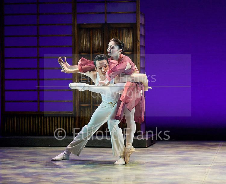 Madame Butterfly <br /> The Northern Ballet <br /> at Richmond Theatre, Surrey , Great Britain <br /> press photocall<br /> 9th June 2015 <br /> <br /> pas de deux from Madame Butterfly <br /> choreography by David Nixon <br /> <br /> Javier Torres and Rachael Gillespie <br /> <br /> <br /> <br /> <br /> Photograph by Elliott Franks <br /> Image licensed to Elliott Franks Photography Services