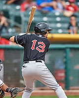 Rafael Ortega (13) of the El Paso Chihuahuas at bat against the Salt Lake Bees in Pacific Coast League action at Smith's Ballpark on April 30, 2017 in Salt Lake City, Utah.  El Paso defeated Salt Lake 3-0. This was Game 1 of a double-header. (Stephen Smith/Four Seam Images)