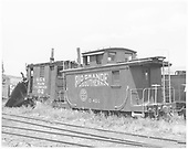 RGS caboose #0401 and plow-flanger #02 parked in Ridgway yard.<br /> RGS  Ridgway, CO  5/13/1949