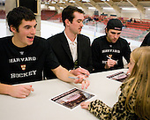 Patrick McNally (Harvard - 8), Raphael Girard (Harvard - 30), Conor Morrison (Harvard - 38) - The Yale University Bulldogs defeated the Harvard University Crimson 5-1 on Saturday, November 3, 2012, at Bright Hockey Center in Boston, Massachusetts.