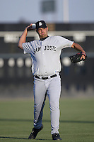 Boof Bonser of the San Jose Giants warms up before pitching during a California League 2002 season game against the Lancaster JetHawks at The Hanger, in Lancaster, California. (Larry Goren/Four Seam Images)