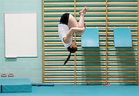 04 MAY 2005 - LOUGHBOROUGH, UK - Gymnastics club training at Loughborough University. (PHOTO (C) NIGEL FARROW)