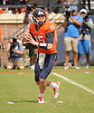 Virginia Cavaliers Matt Johns (15) during a game against the UCLA Bruins on August 30, 2014 at Scott Stadium in Charlottesville, VA. UCLA beat Virginia 28-20.