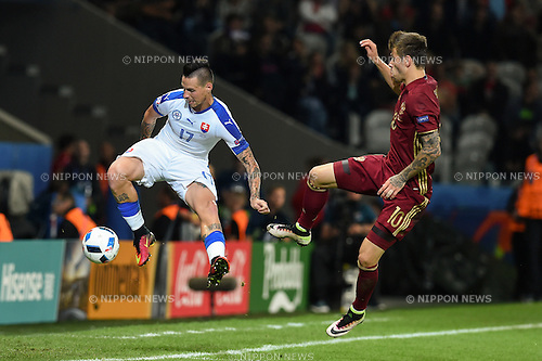 Marek Hamsik (Slovakia) Fedor Smolov (Russia) ; <br /> June 15, 2016 - Football : Uefa Euro France 2016, Group B, Russia 1-2 Slovakia at Stade Pierre Mauroy, Lille Metropole, France. (Photo by aicfoto/AFLO)