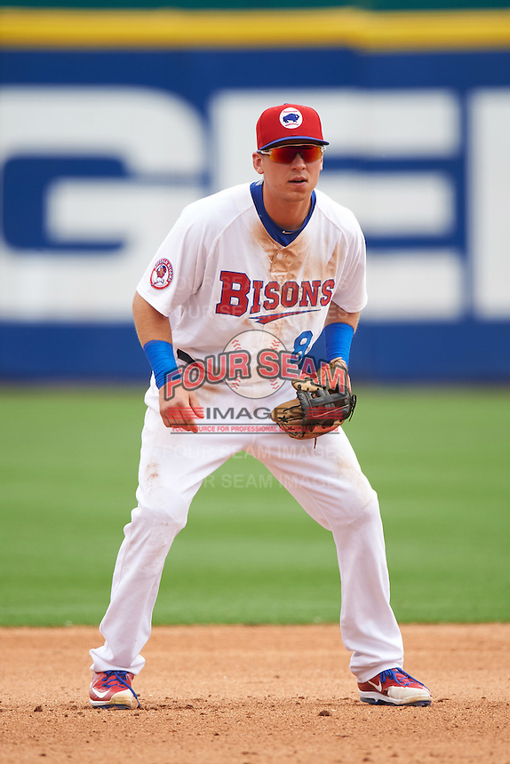 Buffalo Bisons third baseman Andy Burns (8) during a game against the Louisville Bats on June 23, 2016 at Coca-Cola Field in Buffalo, New York.  Buffalo defeated Louisville 9-6.  (Mike Janes/Four Seam Images)