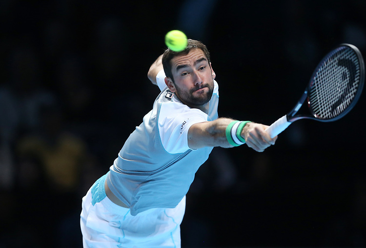 Croatia's Marin Cilic during his match against John Isner of the United States<br /> <br /> Photographer Rob Newell/CameraSport<br /> <br /> International Tennis - Nitto ATP World Tour Finals Day 4 - O2 Arena - London - Wednesday 14th November 2018<br /> <br /> World Copyright © 2018 CameraSport. All rights reserved. 43 Linden Ave. Countesthorpe. Leicester. England. LE8 5PG - Tel: +44 (0) 116 277 4147 - admin@camerasport.com - www.camerasport.com