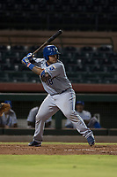 AZL Royals catcher Paul Mondesi (18) at bat during an Arizona League game against the AZL Giants Black at Scottsdale Stadium on August 7, 2018 in Scottsdale, Arizona. The AZL Giants Black defeated the AZL Royals by a score of 2-1. (Zachary Lucy/Four Seam Images)