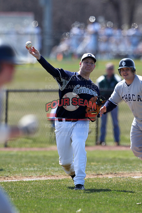 Genesee Community College Cougars third baseman Zach Ranta #7 during a game against the Ithaca JV team at Genesee Community College on April 9, 2011 in Batavia, New York.  Photo By Mike Janes/Four Seam Images