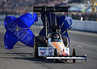 Sept. 29, 2012; Madison, IL, USA: NHRA top fuel dragster driver Clay Millican during qualifying for the Midwest Nationals at Gateway Motorsports Park. Mandatory Credit: Mark J. Rebilas-