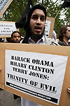© Joel Goodman - 07973 332324 - all rights reserved . 11/09/2010 . London , UK . Muslims Against Crusades hold a demonstration outside the American Embassy in London on the 9th anniversary of the terrorist attack on the World Trade Centre and other targets in America . Photo credit : Joel Goodman
