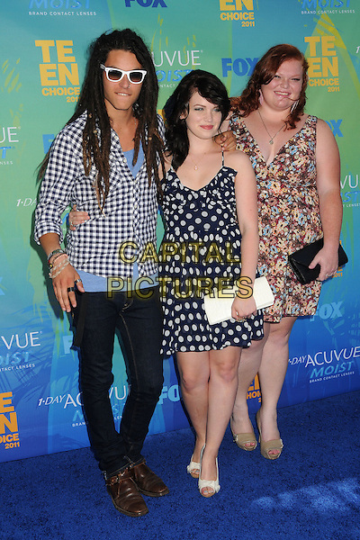 "Cast of ""The Glee Project"".2011 Teen Choice Awards - Arrivals held at Gibson Amphitheatre, , Universal City, California, USA..August 7th, 2011.full length black white blue pink polka dot dress sunglasses shades shirt.CAP/ADM/BP.©Byron Purvis/AdMedia/Capital Pictures."