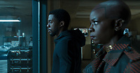 Black Panther (2018)<br /> T'Challa/Black Panther (Chadwick Boseman) and Okoye (Danai Gurira)<br /> *Filmstill - Editorial Use Only*<br /> CAP/KFS<br /> Image supplied by Capital Pictures