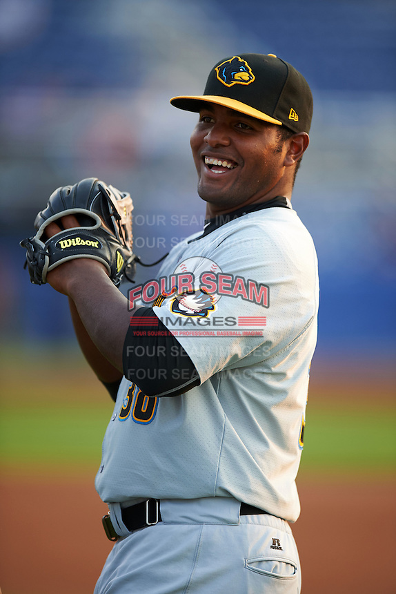 West Virginia Black Bears outfielder Alexis Bastardo (38) during warmups before a game against the Batavia Muckdogs on August 31, 2015 at Dwyer Stadium in Batavia, New York.  Batavia defeated West Virginia 5-4.  (Mike Janes/Four Seam Images)