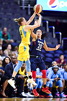 Washington, DC - June 15, 2018: Chicago Sky guard Allie Quigley (14) shoots a jump shot over Washington Mystics guard Kristi Toliver (20) during game between the Washington Mystics and Chicago Sky at the Capital One Arena in Washington, DC. (Photo by Phil Peters/Media Images International)