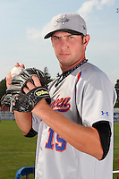 Aberdeen Ironbirds pitcher Justin Moore (19) poses for a photo before a game vs. the Batavia Muckdogs at Dwyer Stadium in Batavia, New York;  August 11, 2010.   Batavia defeated Aberdeen 10-1.  Photo By Mike Janes/Four Seam Images