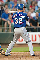 "Texas Rangers center fielder Josh Hamilton #32 at bat during the MLB exhibition baseball game against the ""AAA"" Round Rock Express on April 2, 2012 at the Dell Diamond in Round Rock, Texas. The Rangers out-slugged the Express 10-8. (Andrew Woolley / Four Seam Images)."