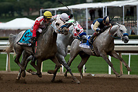ARCADIA, CA  APRIL 7: #9 Quick Sand AA, ridden by Sasha Risenhoover, battles #10 Easter Man, ridden by Carol Cedeno, and #3 RB Nash, ridden by Keiber Coa, in the stretch of the HH Sheikha Fatima Bint Mubarak (Grade l) on April 7, 2018 at Santa Anita Park in Arcadia, CA.  (Photo by Casey Phillips/ Eclipse Sportswire/ Getty Images)